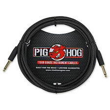 "Pig Hog PCH10BK Guitar Instrument Cable 1/4"" to 1/4"" 10 ft. Black Wooven"