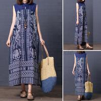 UK Women Summer Sleeveless Cotton Printed Patchwork Kaftan Baggy Long Maxi Dress