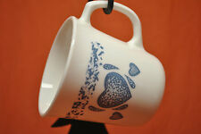"Corelle By Corning Blue Hearts Pattern 3-3/4"" Straight Side Mug #25 & #32 choice"