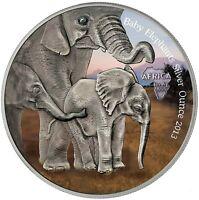 Gabun 1000 Francs 2013 Baby Elephants Silver Ounce Antique Finish in Farbe