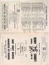 1967/68    Derby County Reserves    v    Man City Reserves    Very Good