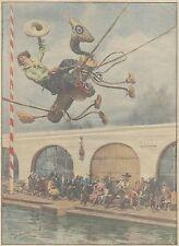 K1223 Donna ad arcioni su cavallo di legno sospeso in aria - Stampa del 1931