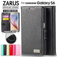 Galaxy S6 case Genuine Zarus Genuine Leather Flip Cover Wallet Case for Samsung