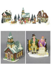 Large Village Set with Church, Shops, Trees & Figurines - 17 Pieces