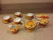 Vintage Children's Tea Set From Japan In Excellent Condition Sunset Pattern