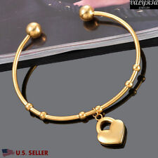 VALYRIA 316L Women's Stainless Steel Fashion Gold Heart Lock Bangle Bracelet USA