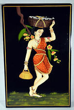 "16"" Vintage Asian INDIA Painting on Wood Woman Carrying Basket Traditional Dress"