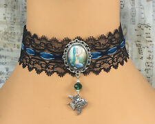 Goth Black Lace Green Teal Velvet Choker Necklace Mermaid Fish Steampunk Fantasy
