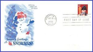 USA3 #3680 U/A ARTCRAFT FDC   Snowman Blue Plaid Scarf s/a