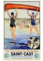 VINTAGE FRENCH TRAVEL ART PRINT - Saint-Cast by Peryber Beach Poster 27.5x39.5