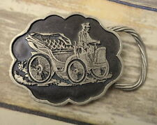 Antique Car Belt Buckle Pewter Motorized Buggy Auto Automobile Mechanic Retro