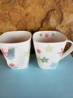 Set of 2-Starbucks 2005 Stars/Snowflakes-10oz  Square Coffee Mug-Red,Blue,Green