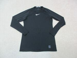 Nike Shirt Adult Medium Black White Swoosh Nike Pro Long Sleeve Drifit Mens A30*