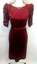 Vintage NY & C 1960s Womens 3 Crushed Velvet Red Dress Arnel Prom Blend Belt