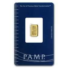 1 gram Pamp Suisse Gold Bar - Lady Fortuna - In Assay Card - SKU #19041