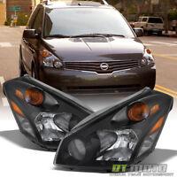 Replacement Headlamps Black For 2004-2009 Quest Van Headlights 04-09 Left+Right
