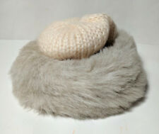 Women's Vintage Knit Hat Gray Faux Fur Trimmed Peaches and Cream Winter Fashion