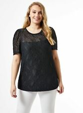 Dorothy Perkins Womens Curve Black Lace Top Short Sleeve Round Neck Blouse