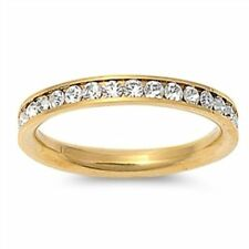 Gold Plated Crystal Wedding Eternity Stackable Ring Plus Size 10 11 12 / T V X