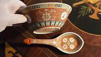 "Mun Shou Bowl & Serving Spoon Red Porcelain Vintage Chinese Jingdezhen 7"" Diamtr"