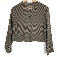 GIORGIO ARMANI Le Collezioni womens blouse Sz 10 black brown chevron print t402