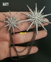 Vintage Style LARGE Double Star Clear Diamante Crystal Starburst Chain BROOCH Uk