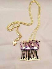 Flock of Purple Enamel Flamingos Necklace & Pin *100% Donation 2 cure K9 Cancer