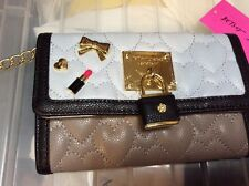 $68 Betsey Johnson Pin Wallet Cross Body Bow Lipstick & Hear Pins Pin Blue BUP61