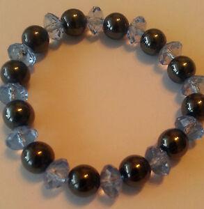 "Fashion Jewellery Bracelet Stretch Magnet "" Diamond "" 0 3/8in Blue 125"