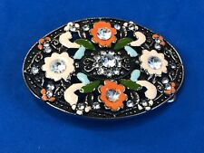 Oval Belt Buckle, Enamel Flowers Rhinestone accents,    Colorful and beautiful