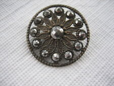 Vintage Medium 1 Inch Brass and Cut Steels Metal Open Work Button - M31