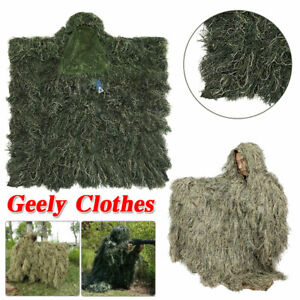 Ghillie Suits,3D Leaves Woodland Camouflage Clothing Ghillie Cloak For Hunting