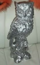 Large Owl  Silver Ornament Statue Sculpture Bird Wildlife Gift