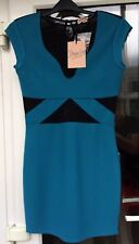 BNWT Topshop Dress Up Turquoise Black Mesh Bodycon Mini Dress Size 10