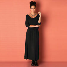 Viscose Boat Neck 3/4 Sleeve Casual Dresses for Women