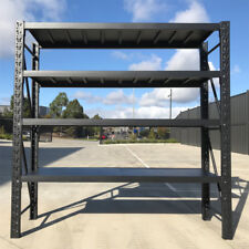 2Mx2.4M Matte Black Steel Workshop Racking Storage Shelves Racks Garage Shelving
