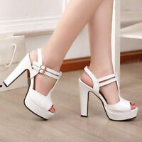Women Big Size High Heel Platform T-Strap Open Toe Dress Gladiator Sandals Shoes