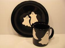Halloween Ghosts On Black 2pc Snack Set Waechtersbach German Stoneware