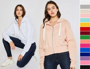 S-XL Reflex Women's Thick Cozy Fleece Full Zip Hoodie Sweatshirt Jacket Cropped