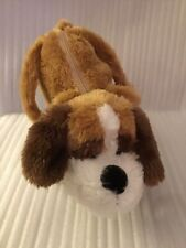 "Kellytoy PACK MATES White/Brown 12"" Puppy Purse Plush Stuffed Animal"