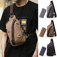 2pc Set Men's Canvas Sling Bag Chest Pack Single Shoulder Backpack w/ Wallet