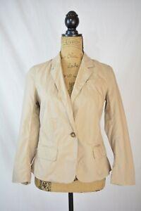 Ann Taylor LOFT Beige 100% Cotton single button blazer RUFFLED back, size 2