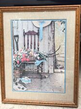 Vintage Home Decor Interiors Picture Norman Rockwell Chair Flowers Hat Porch