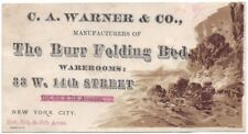 The Burr Folding Bed - Trade Card - C.A. Warner & Co., New York City