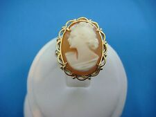 18K YELLOW GOLD CAMEO RING, FILIGREE FRAME, 6 GRAMS, SIZE 5.5, MADE IN ITALY