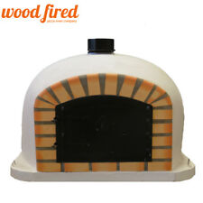 Outdoor wood fired Pizza oven 70cm white Deluxe model black door