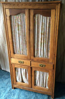 """Antique Pie Safe Cabinet Cupboard with Light Finish & Curtains  37"""" X 70"""" X 17"""""""