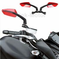 BLACK RED UNIVERSAL MOTORCYCLE REAR VIEW SIDE MIRRORS 8-10MM FOR KAWASAKI SUZUKI