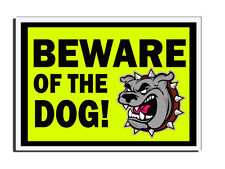 BEWARE OF THE DOG - YELLOW - DOG FACE DOOR SIGN FRONT DOOR PET LOVERS