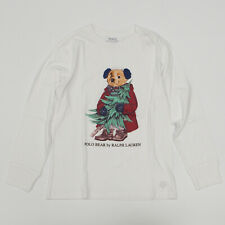 Polo Ralph Lauren Long Sleeve White Bear T Shirt Top Size M 10-12 Boys Youth